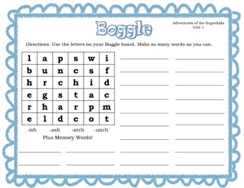 Superkids Pattern and Memory Word Boggle Units 1-9