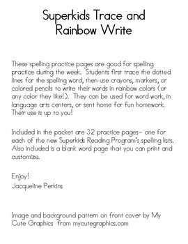 Superkids Spelling Words- Trace and Rainbow Write
