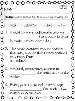 Superkids Take Off Vocabulary Packet