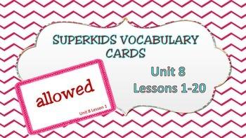 Superkids Unit 8 Decodable Reader Vocabulary Cards