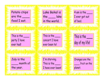 Superlative Adjective Cards