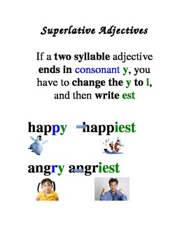 ESL/ELD Superlative Adjective Posters