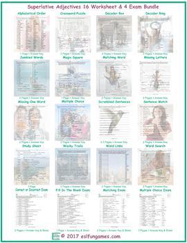 Superlative Adjectives 16 Worksheet- 4 Exam Bundle