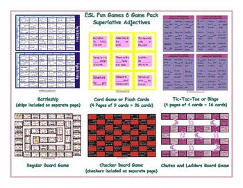 Superlative Adjectives 6 Board Game Bundle