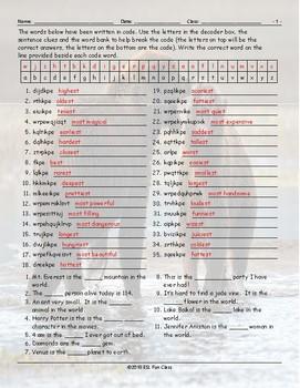 Superlative Adjectives Decoder Box Worksheet