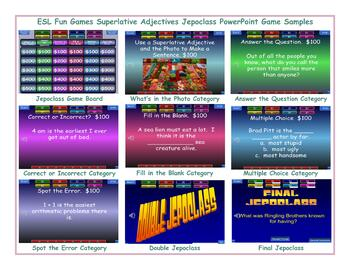 Superlative Adjectives Jeopardy PowerPoint Game
