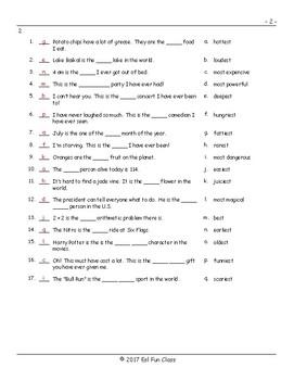 Superlative Adjectives Matching Exam