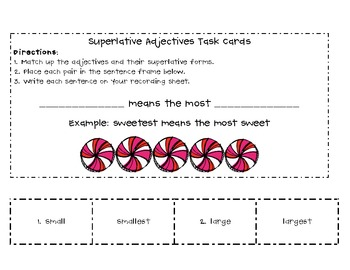 Superlative Adjectives Sort and Memory Game