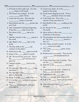 Superlative Adjectives Word Links Worksheet