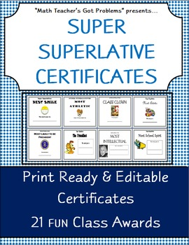 "Classroom Awards :Superlative Certificates ""Perfect for Middle Schoolers"""