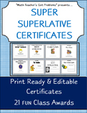 """Classroom Awards :Superlative Certificates """"Perfect for Middle Schoolers"""""""