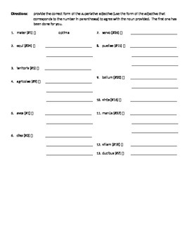 Superlative Degree of Adjectives WS #2