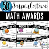 Math Award Certificates - End of the Year