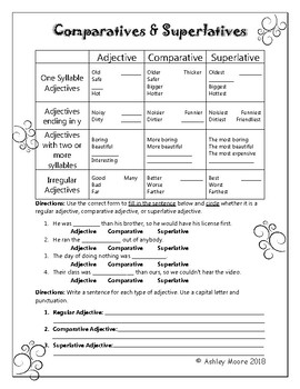 Superlatives and Comparatives Interactive Notebook Insert