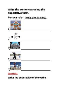 Superlatives vocabulary worksheet