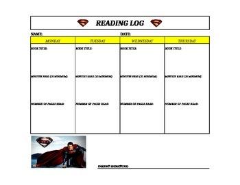 Superman Reading Log