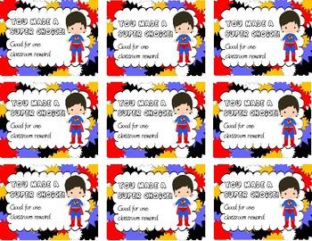 Superman Superhero Reward Tickets