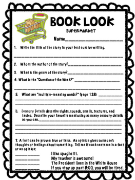 Supermarket Book Look A pre-reading activity Reading Street 3rd grade centers