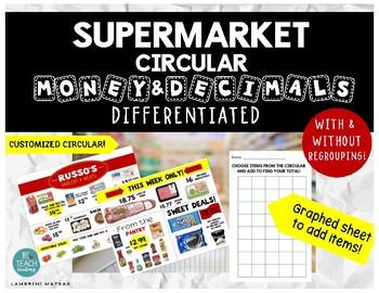 Supermarket Circular Math: Adding Decimals *FULL COLOR SUPERMARKET CIRCULAR!*