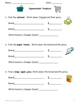 Supermarket Community Outing Printable Activities for Secondary Life Skills