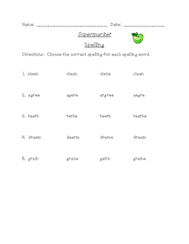 Supermarket Differentiated Spelling (Scott Foresman Reading Street)