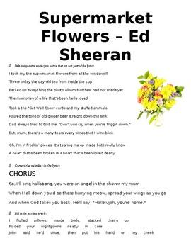 Supermarket Flowers - Ed Sheeran Listening Activity