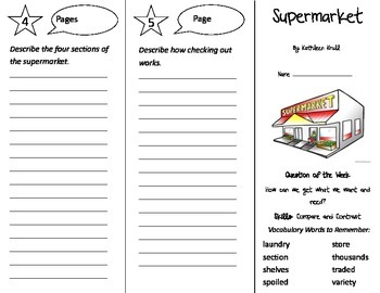 Supermarket Trifold - Reading Street 3rd Grade Unit 1 Week 4