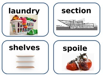 Supermarket amazing and vocabulary word cards