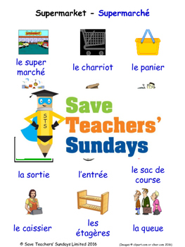 Supermarket in French Worksheets, Games, Activities and Flash Cards