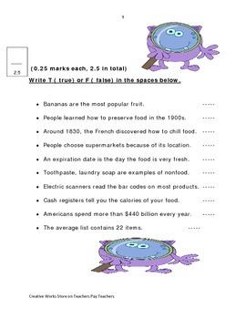 Supermarket - 3rd Grade Reading Street ( reading comprehension quiz)