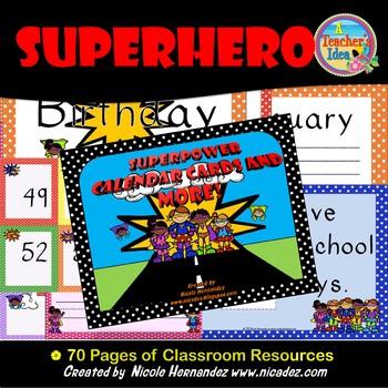 Calendar Cards - Superhero Themed