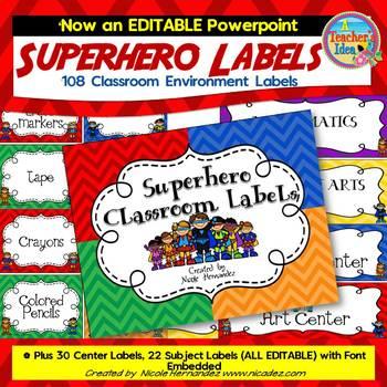 Classroom Labels -{Superhero Themed}