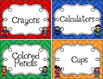 EDITABLE Classroom Labels - Superhero Theme