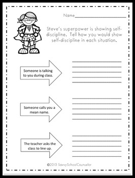 Superpower Character Trait Activity Sheets- Savvy School Counselor