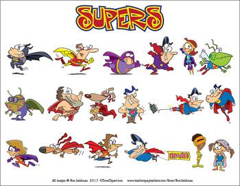 Supers Cartoon Superheros Clipart
