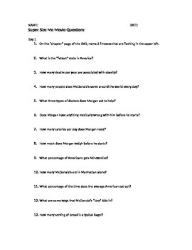 supersize me essay questions supersize me essay com hd image of supersize me movie discussion questions by rachel franks tpt