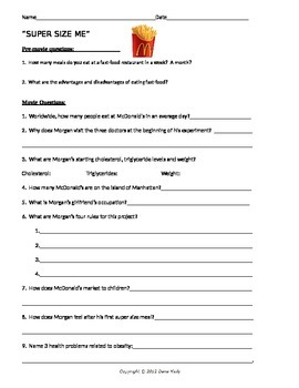 supersize me movie question sheet with key by biology boutique tpt. Black Bedroom Furniture Sets. Home Design Ideas