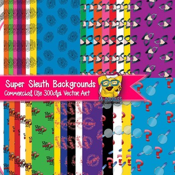 Supersleuth Detective Background Papers clip art