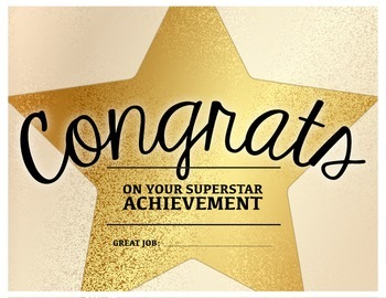 superstar achievement congratulations certificate tpt