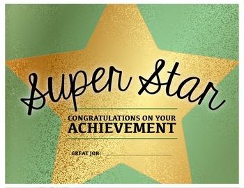 superstar achievement congratulations certificate tpt