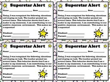 Superstar Alert - Positive Student Behavior Note for Paren