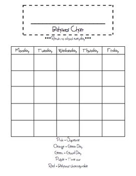 Superstar blank behavior chart template freebie tpt for Behavior charts for preschoolers template