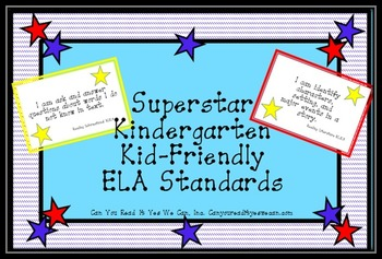 Superstar Kindergarten Kid-Friendly I Can Statements