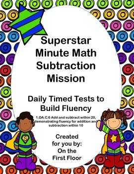 Superstar Minute Math Subtraction Mission-Daily Timed Test