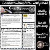 Hollywood/Movie Themed Newsletter and Editable Template-StartYourYearOffGREAT!