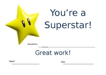 Superstar Student Certificate