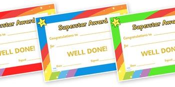 Superstar award certificates