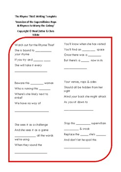 Supervillains 'The Rhyme Thief' Writing Worksheet