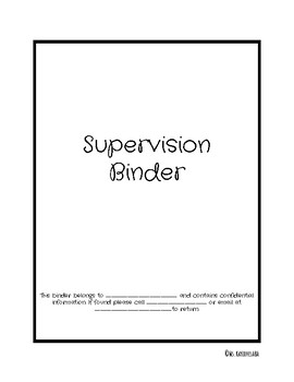 Supervision Binder Cover Pages