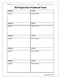 SLP Supervisor Feedback Form